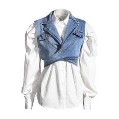 Women Blue Denim Single Breasted New Lapel Long Puff Sleeve Shirt Fashion Tide Autumn Two Pieces Top 45.50 CAD Light Denim, Denim Claro, Chemise Fashion, Estilo Denim, Classic White Shirt, Mode Jeans, Vest Pattern, Manga, Denim Fashion