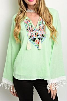 Mint Long Sleeve Top with Fringe sleeves. This loose fitted top can be paired with skinny jeans to complete the boho look!   Mint Fringe Top by VaVa. Clothing - Tops - Long Sleeve Clothing - Tops - Blouses & Shirts Illinois