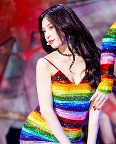 The KPop Girl in Rainbow Dress a.a Joy of Red Velvet Seulgi, Red Velvet Joy, Red Velvet Irene, Red Valvet, Joy Rv, Stage Outfits, Peek A Boos, Beautiful Asian Girls, Girl Crushes