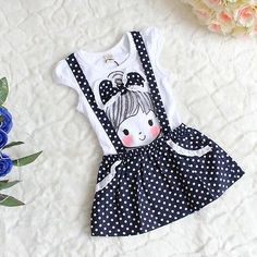 Baby Girl Kids Princess Party Polka Dot One-pieces Dress Skirt Summer Belt Dress