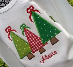 Girls Appliqued Christmas trees on Long Sleeves by lilshabebe, $19.50