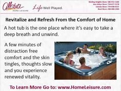 "Hot Tubs Sterling Heights, MI http://HomeLeisure.com  ☎ 586.932.5100 All New, Used Portable Spas on Sale - We Also Sell Pool Tables, Above Ground Pools, Stoves, Game Rooms ❤ Ann Arbor, Livonia, Detroit, Novi, Sterling Heights - Low Prices, 48104  Pick up a copy of this free hot tub buyer's guide ""How to Select the Best Hot Tub Dealer"" Just give us a call or visit our website at: http://HomeLeisure.com 44605 Schoenherr Rd., Sterling Heights, MI 48313 586.932.5100  Hot Tubs Sterling Heights"