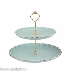 Bombay Duck - Luxury Vintage Style Gold & Duck Egg  English Afternoon Tea Time Cake Stand