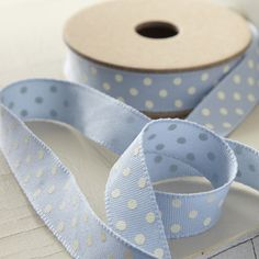 Soft Blue Ribbon with White Polka Dots Fabric Ribbon, Blue Ribbon, Ribbon Bows, Ribbons, Blue Fabric, Love Blue, Blue And White, Bleu Pale, Himmelblau
