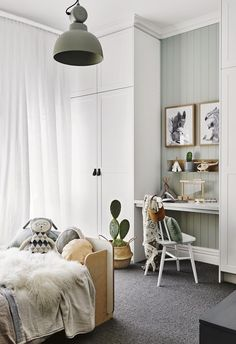 This Scandi-style kid& room has an in-built study nook with grey carpet and. This Scandi-style kid& room has an in-built study nook with grey carpet and a Dulux Spanish Olive feature wall. Bedroom Furniture, Bedroom Decor, Sage Bedroom, Bedroom Lighting, Furniture Dolly, Kids Room Lighting, Furniture Design, Kids Room Furniture, Bedroom Prints