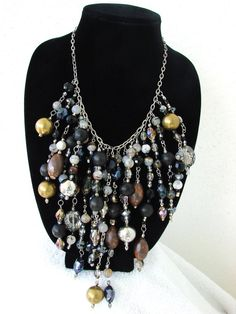 Night Cascade Necklace by LeniBorgesDesigns on Etsy, $295.00
