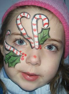 Christmas candy cane holly face paint cheek art