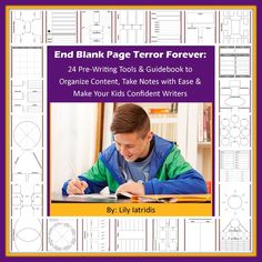 FREE writing workbook from Fortuigence ►End Blank Page Terror Forever!◄ with these 24 Pre-Writing Tools and Graphic Organizers. Includes Parent Guidebook for using each of the free printable pages.  TEACHES HOW TO Break up a writing project into small, easy-to-manage pieces, Brainstorm ideas, Organize content, Take notes from a text, Avoid a negative attitude toward writing, and Build your kids' confidence in their ability to write well #homeschool #education #teaching #writing #ihsnet