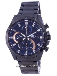 Stainless Steel Case and Bracelet, Quartz Movement, Mineral Crystal, Blue Dial, Analog Display, Stopwatch, Chronograph Function. Cheap Watches, Watches For Men, Stainless Steel Bracelet, Stainless Steel Case, Casio Edifice, Watch Model, Black Crystals, Casio Watch, 100m