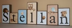 Personalized Wood Blocks -  Blue & Brown Damask Forest Friends Block Set - Baby Room Decor Custom Name Letters - Owl, hedgehog, squirrel. $7.00, via Etsy.