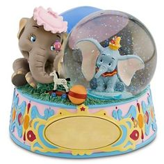 Dumbo and Mrs. Jumbo musical snowglobe with plaque from Fantasies Come True