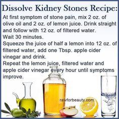 Kidney stone home based remedy.