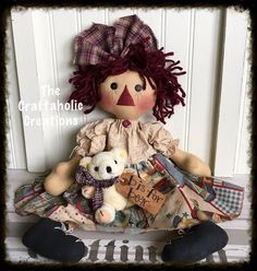 "* Primtive RAGGEDY ANN doll  * ragdoll - teddy bear TOYS ** ANNIE - 21"" doll  #NaivePrimitive"