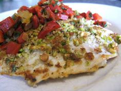 Recipes - Pistachio crusted whitefish with chunky roasted red pepper sauce - - Heart and Stroke Foundation of Ontario