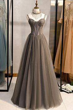 Grey Tulle Long Banquet Party Dress Sweetheart A Line Custom Size Prom Dress Cute Prom Dresses, Ball Dresses, Ball Gowns, Formal Dresses, Formal Prom, Dream Dress, Evening Gowns, Party Dress, Tulle