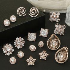 Cz Jewellery, Gold Jewellery Design, Ear Jewelry, Diamond Earing, Diamond Studs, American Diamond Jewellery, Latest Jewellery Trends, Gold Earrings Designs, Small Earrings