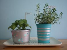 paint up plastic containers and grow herbs in. cool