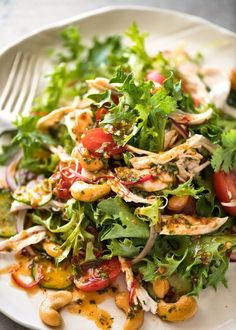 Get your taste buds dancing with this bright Thai Chicken Salad! Zesty chilli lime dressing with the signature South East Asian sweet-sour-tang.
