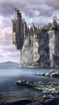 Ideas For Fantasy Landscape Ocean Beautiful Fantasy City, Fantasy Castle, 3d Fantasy, Fantasy Places, Fantasy Setting, Fantasy Kunst, Fantasy Landscape, Fantasy Artwork, Fantasy World