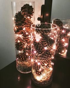 Give your home a warm and cozy rustic makeover with these DIY Christmas decor ideas. There are over a hundred ideas for indoor and outdoor Christmas decorations. From wood finishes and burlap accents to natural elements, your home will be filled with trad Christmas Vases, Elegant Christmas Decor, Diy Christmas Lights, Christmas Wall Art, Christmas Centerpieces, Outdoor Christmas Decorations, Rustic Christmas, Christmas Home, Christmas Crafts