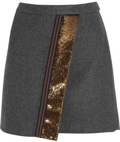 J.Crew Origami sequin-paneled felt mini skirt
