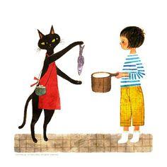 Ilustração por Yoko Taniji #ilustracao #arte #amor #gastronomia #peixe #panela #gatostagram #yokotaniji
