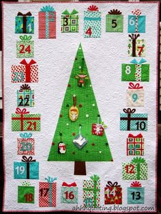 Name: 'Quilting : Advent Calendar Quilt Pattern. It would look cute just as a quilt, no pockets. Christmas Quilt Patterns, Christmas Sewing, Christmas Projects, Christmas Quilting, All Things Christmas, Christmas Holidays, Christmas Decorations, Modern Christmas, Christmas Trees
