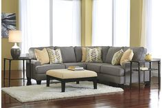 3-Piece Alloy Gray Sectional Sofa with Coordinating Buttercup Ottoman