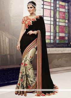 Designed with simplicity with a touch of soberness in its work makes a masterpiece. This black chiffon satin and georgette designer half n half saree is accenting the enticing feeling. This charming d...