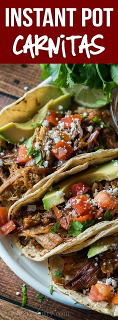 DELICIOUS! This super easy Pork Carnitas recipe is ready in a fraction of the time and tastes amazing! Pork Carnitas Pressure Cooker Recipe, Crockpot Carnitas Recipes, Pork Carnitas Tacos, Pork Carnitas Recipe, Pressure Cooker Recipes, Easy Dinner Recipes Pork, Mexican Food Recipes, Speggetti Recipes, Fennel Recipes