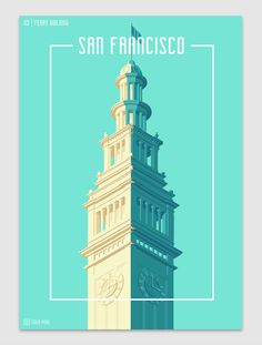 Towers Of San Francisco Coen Pohl: A series of posters which, just like the previous project 'Towers of The Netherlands' shows the top of various landmarks in San Francisco. After doing the previous series I got a lot of requests for doing additional towers. A lot of them were for San Francisco-based landmarks. This series features, among others, famous buildings such as the Transamerica Pyramid, the Coit Tower, and The Alcatraz Lighthouse.