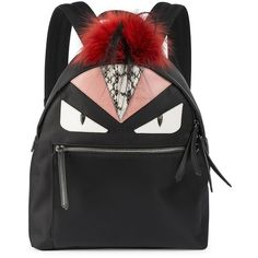 Fendi Monster Nylon, Leather & Fur Backpack (7.572.560 COP) ❤ liked on Polyvore featuring bags, backpacks, apparel & accessories, fox backpacks, pocket backpack, faux-leather backpack, leather knapsack and leather rucksack
