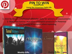 Repin and win dynamic teachings on living a victorious life as a #Champion. Build your faith and strengthen your confidence with these dynamic teachings. Plus, we threw in a study note leather bound guide. The winners will be announced daily on facebook.com/PastorTaffiDollar. The deadline is October 31st. Visit Facebook daily and post under the Pin To Win post!