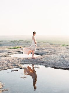 Gossamery sand-colored gown | Photo by Jenna McElroy