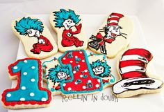 Dr. Seuss Cat in the Hat Cookies - 6 Cookie Favors. via Etsy.