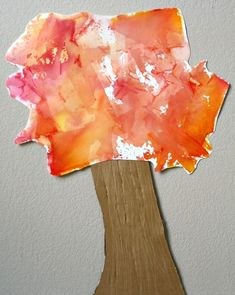 Tissue Paper Art Fall Tree Craft - - Create beautiful art with bleeding tissue paper. Then put together this simple fall tree craft for kids. Autumn Activities For Kids, Fall Preschool, Preschool Crafts, Preschool Ideas, Preschool Curriculum, Homeschool, Fall Arts And Crafts, Fall Crafts For Kids, Toddler Crafts