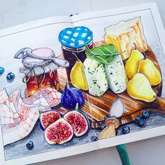 Тема 6/8 марафона от @pashalidi и @art_markers. Французская кухня. Сыры и конфитюры. #pashalidi_marafon #france #sketchdoodles #liner #multiliner #sketching #sketchbook #markers #copicart #copic #food #cooking #foodsketch