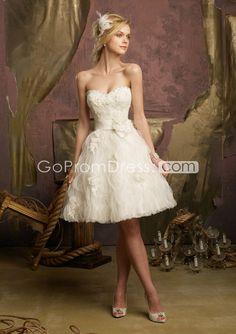 Ball Gown Ruffles Beading Zipper Back Short-Length Wedding Dress - gopromdres.com