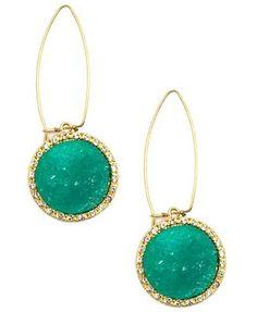 Rachel Roy Earrings, Green Druzy Drop Earrings