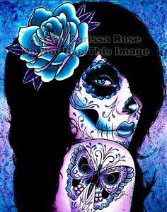 Tattooed Girl Art Print Harmony 5x7 8x10 or 11x14 by NeverDieArt