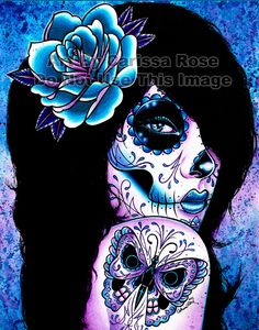 Tattooed Girl Art Print Harmony 5x7 8x10 or 11x14 by NeverDieArt