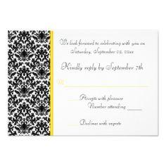 Black, White, Yellow Damask RSVP Card Personalized Invitation
