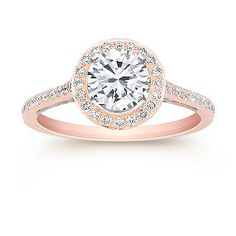 Halo Diamond 14k White and Rose Gold Engagement Ring (1/3 ct. t.w.) Unmounted