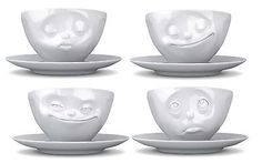 Tassen Coffee Cup Saucer Mug Grinning Kissing Happy Face White Porcelain Novelty