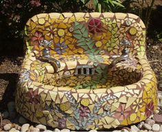 An old sink repurposed with mosaic tiles for a bird bath. I could come up with a number of great bird sanctuary ideas with an old sink. Mosaic Art, Mosaic Glass, Mosaic Tiles, Mosaic Birdbath, Tiling, Garden Crafts, Garden Projects, Garden Ideas, Diy Water Feature
