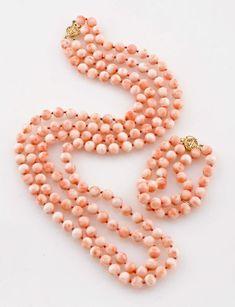 Pink Coral Necklace and Bracelet Set.