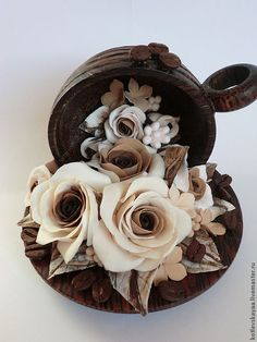 """Купить Арома-чашка с кофейными розами """"Мокко"""" - коричневый, кофейные зерна, кофейные розы, ароматизаторы"""