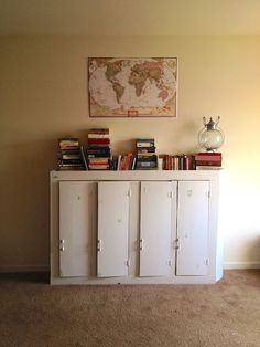 Repurposed kitchen cabinets.  Salvaged junk to beautiful furniture