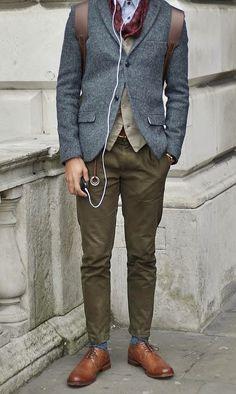 olive pants, grey sport coat, light tan cardigan, red scarf, blue socks, brown wingtips