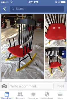 Cute idea to give a Mickey theme to a child's chair - Could easily use the same idea on lots of different things